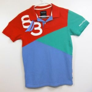 NWOT Boys Nautica Color Block Polo Shirt-XL(18/20)